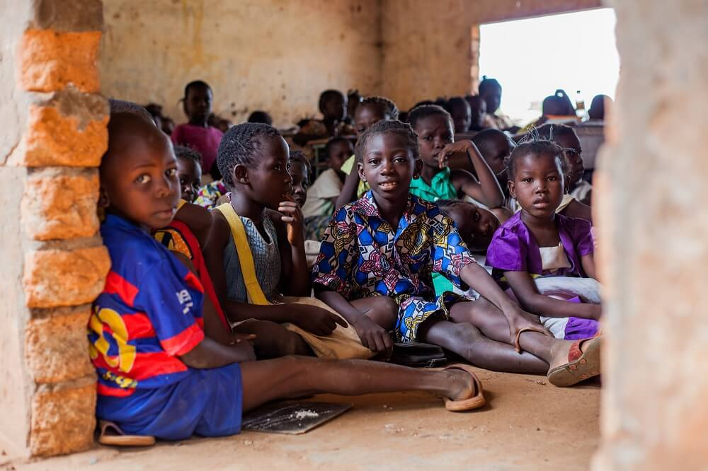 Children learning at school in the capital Bangui